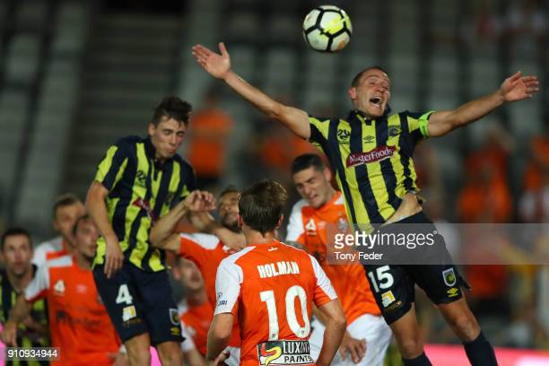 Alan Baro of the Mariners attempts to head the ball during the round 18 ALeague match between the Central Coast Mariners and the Brisbane Roar at...