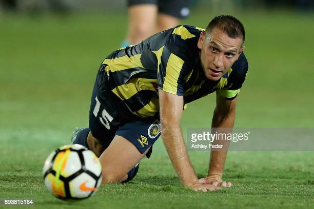 Alan Baro of the Mariners in action during the round 11 ALeague match between the Central Coast and the Western Sydney Wanderers at Central Coast...