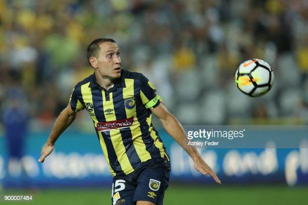 Alan Baro of the Mariners in action during the round 13 ALeague match between the Central Coast Mariners and the Wellington Phoenix at Central Coast...