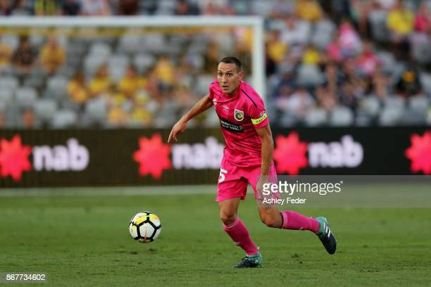 Alan Baro of the Mariners in action during the round four ALeague match between the Central Coast Mariners and the Melbourne Victory at Central Coast...