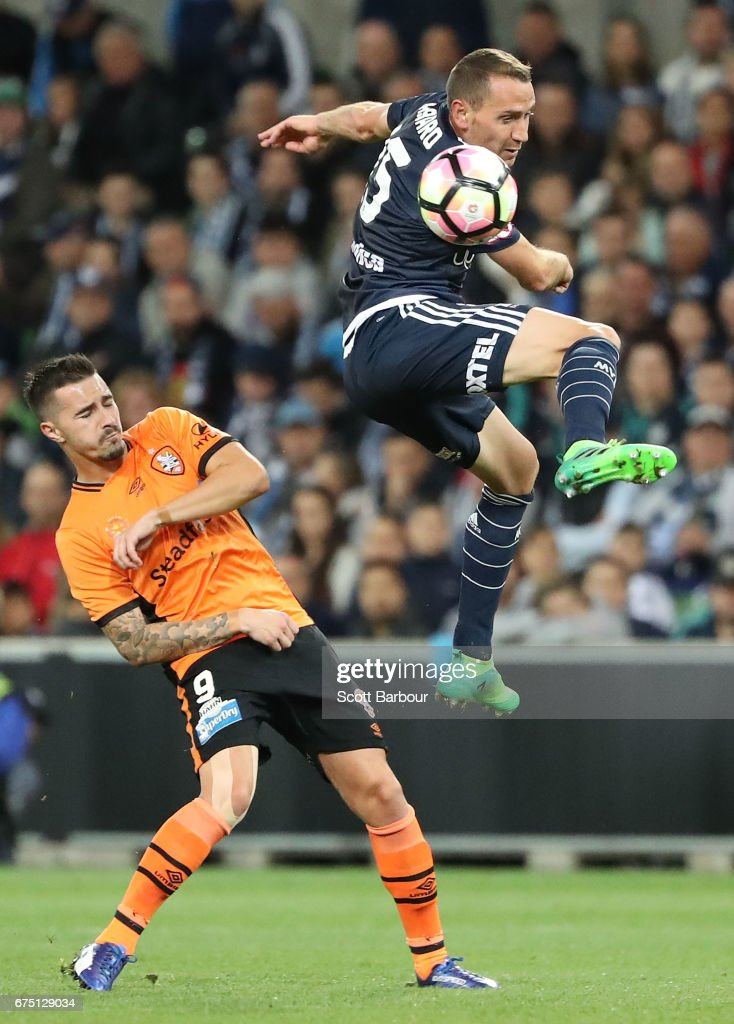 Alan Baro of the Victory competes for the ball during the A-League Semi Final match between Melbourne Victory and the Brisbane Roar at AAMI Park on April 30, 2017 in Melbourne, Australia.