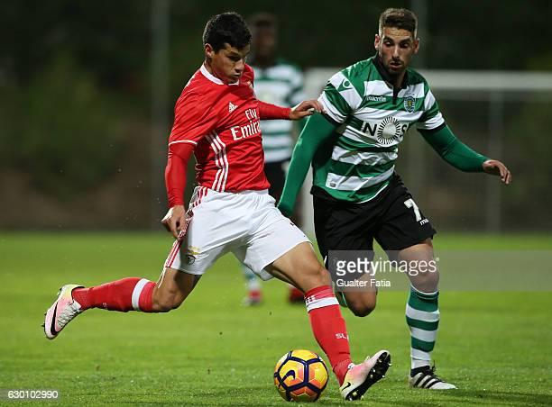 Alan Benitez of SL Benfica B with Ricardo Guima of Sporting CP B in action during the Segunda Liga match between SL Benfica B and Sporting CP B at...
