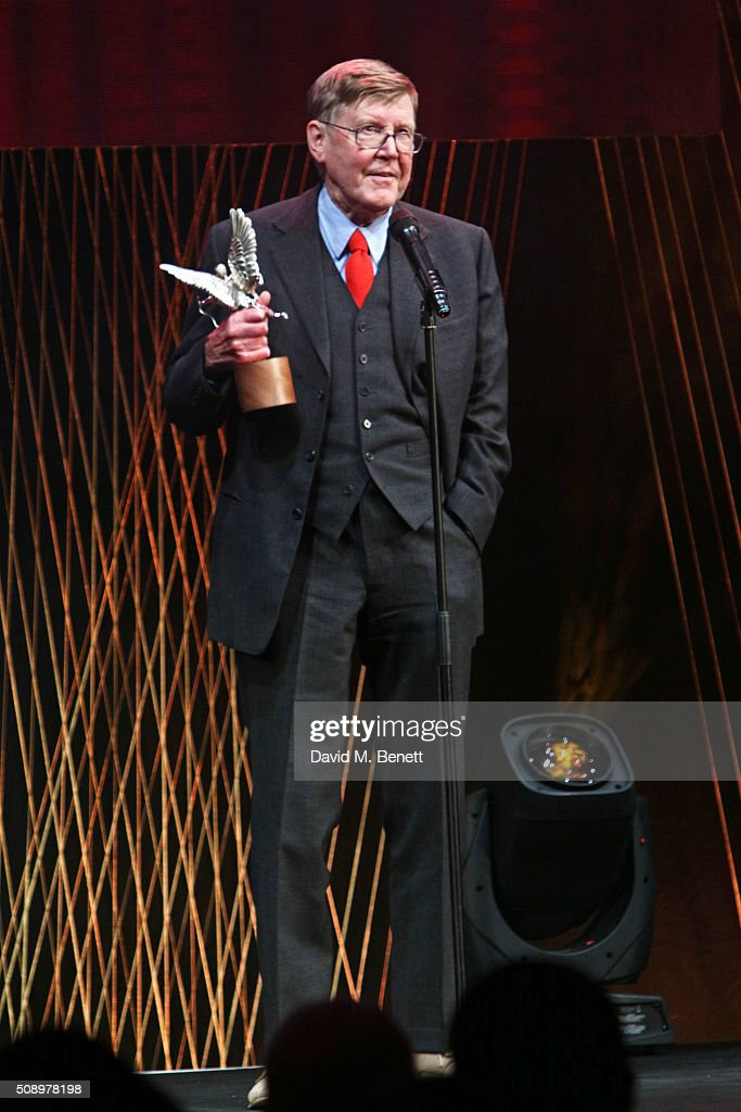 Alan Bennett accepts the Special Award onstage at the London Evening Standard British Film Awards at Television Centre on February 7, 2016 in London, England.