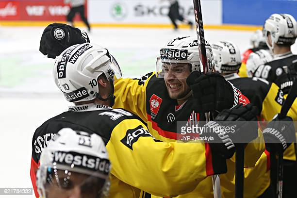 Alan Berger of Bern celebrates at the end of the game during the Champions Hockey League Round of 16 match between JYP Jyvaskyla and SC Bern at...
