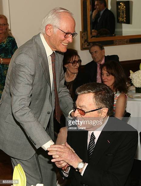 Alan Bergman and Tony Martin attend the wedding of Michael Feinstein and Terrence Flannery held at a private residence on October 17 2008 in Los...