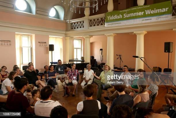 Alan Bern founding artistic director of Yiddish Summer Weimar speaks to instrumental workshop participants during Yiddish Summer Weimar on July 27...