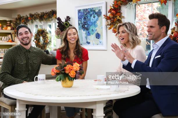 Alan Bersten Alexis Ren Debbie Matenopoulos and Cameron Mathison on the set of Hallmark's 'Home Family' at Universal Studios Hollywood on October 12...