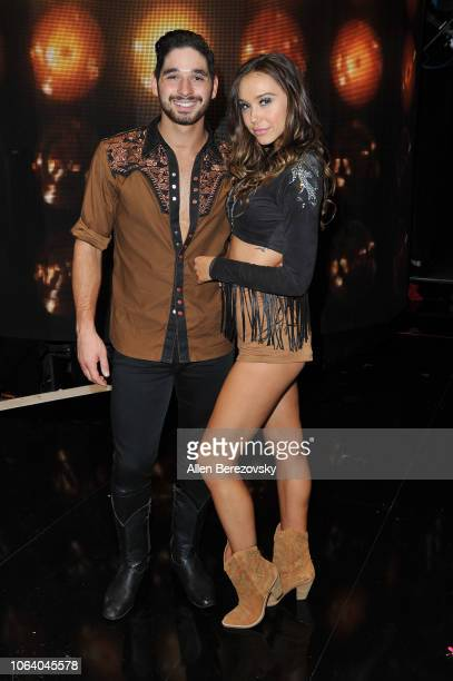 Alan Bersten and Alexis Ren pose at Dancing With The Stars Season 27 at CBS Televison City on November 05 2018 in Los Angeles California