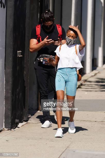 Alan Bersten and Skai Jackson are seen on October 16 2020 in Los Angeles California