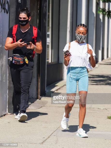 Alan Bersten and Skai Jackson are seen outside 'Dancing With The Stars' rehearsal studios on October 16 2020 in Los Angeles California