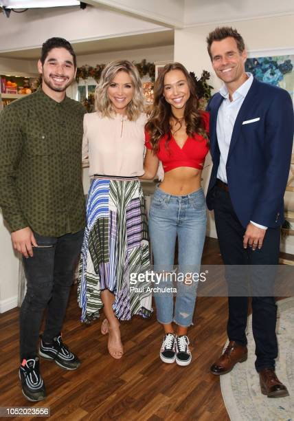 Alan Bersten Debbie Matenopoulos Alexis Ren and Cameron Mathison on the set of Hallmark's 'Home Family' at Universal Studios Hollywood on October 12...
