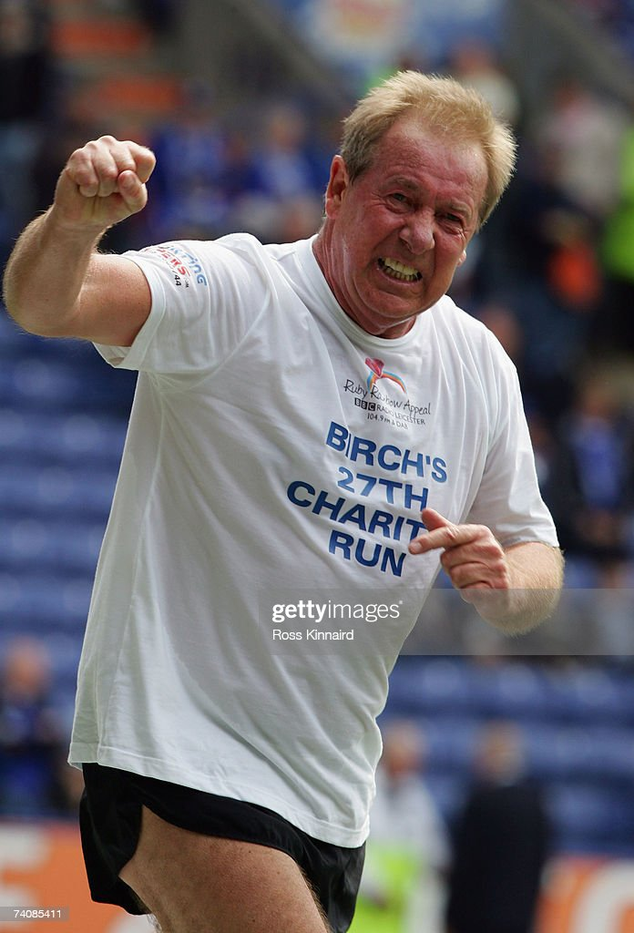 Alan Birchenall, former Leicester City star, punches the air during a charity run prior the Coca-cola Championship match between Leicester City and Wolverhampton Wanderers at the Walkers Stadium on May 6,2007 in Leicester, England.