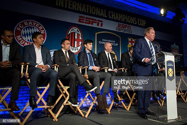 Alan Birchenall of Leicester City address the crowd which including legends Mauro Tassotti of AC Milan Emilio Butragueno of Real Madrid Youri...