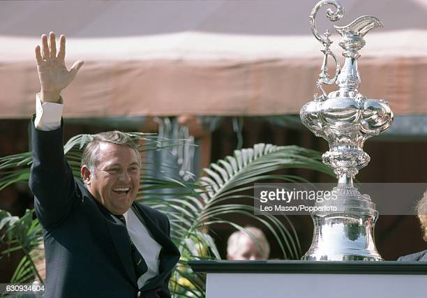 Alan Bond the Australian businessman and leader of the syndicate which owned the victorious Australia II celebrates during the presentation ceremony...