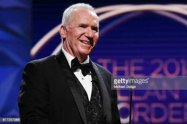 Alan Border reacts on stage at the 2018 Allan Border Medal at Crown Palladium on February 12 2018 in Melbourne Australia
