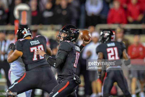 Alan Bowman of the Texas Tech Red Raiders looks to pass the ball during the first half of the game against the Oklahoma Sooners on November 3 2018 at...