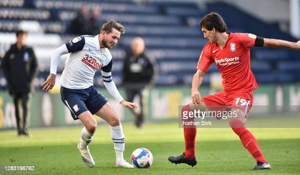 Alan Browne of Preston North End and Mikel San José Domínguez of Birmingham City in action during the Sky Bet Championship match between Preston...