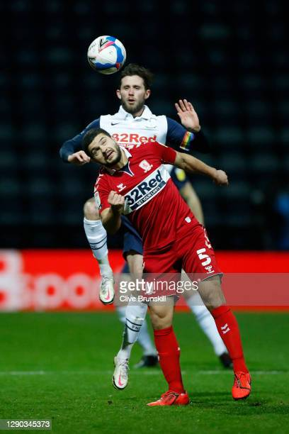 Alan Browne of Preston North End battles for possession with Sam Morsy of Middlesbrough during the Sky Bet Championship match between Preston North...