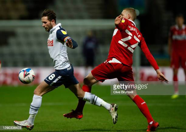 Alan Browne of Preston North End is challenged by George Saville of Middlesbrough during the Sky Bet Championship match between Preston North End and...
