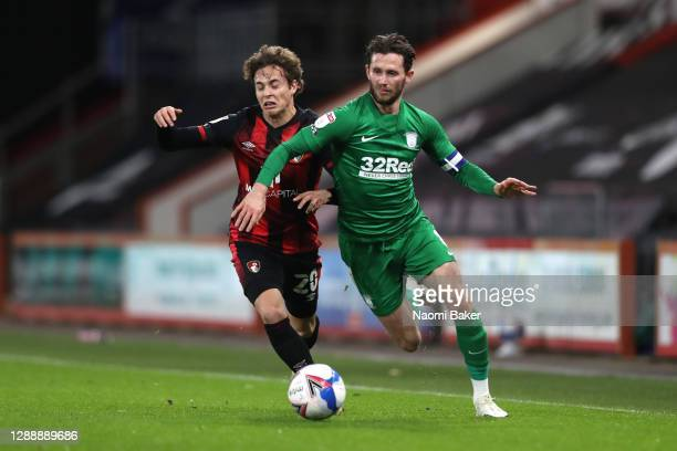 Alan Browne of Preston North End is challenged by Rodrigo Riquelme of AFC Bournemouth during the Sky Bet Championship match between AFC Bournemouth...