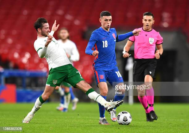 Alan Browne of Republic of Ireland battles for possession with Phil Foden of England during the international friendly match between England and the...