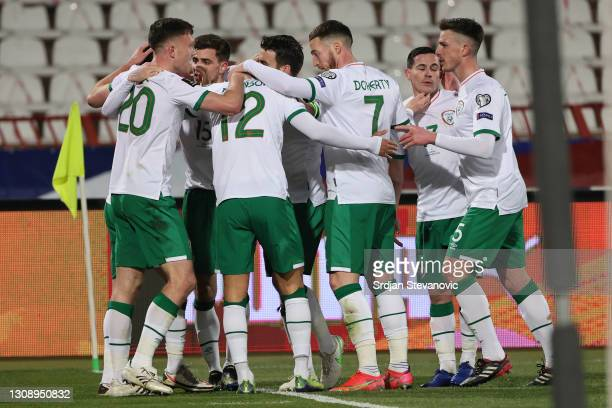Alan Browne of Republic of Ireland celebrates with teammates after scoring his sides first goal during the FIFA World Cup 2022 Qatar qualifying match...