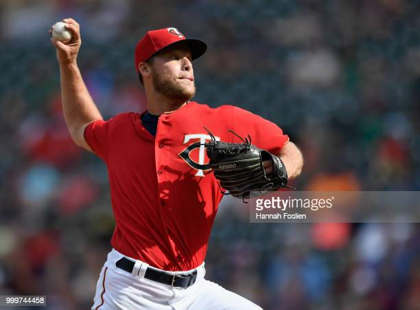 Alan Busenitz of the Minnesota Twins delivers a pitch against the Tampa Bay Rays during the ninth inning of the game on July 15 2018 at Target Field...