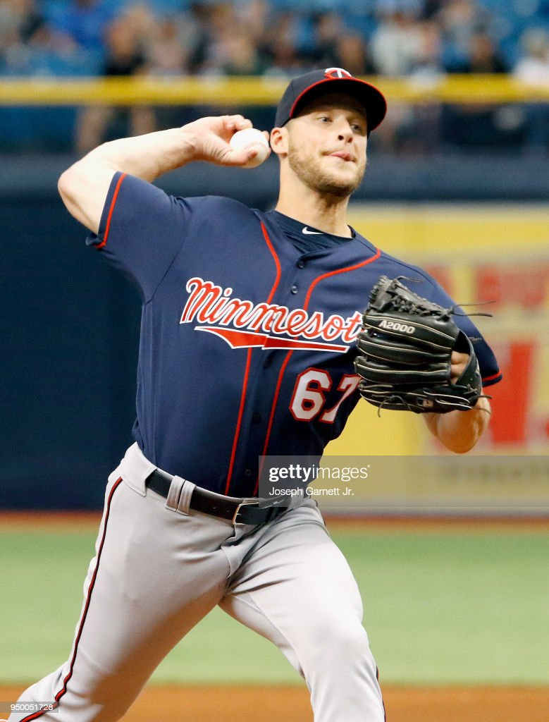 Alan Busenitz #67 of the Minnesota Twins delivers a pitch during the game against the Tampa Bay Rays at Tropicana Field on April 22, 2018 in St. Petersburg, Florida.