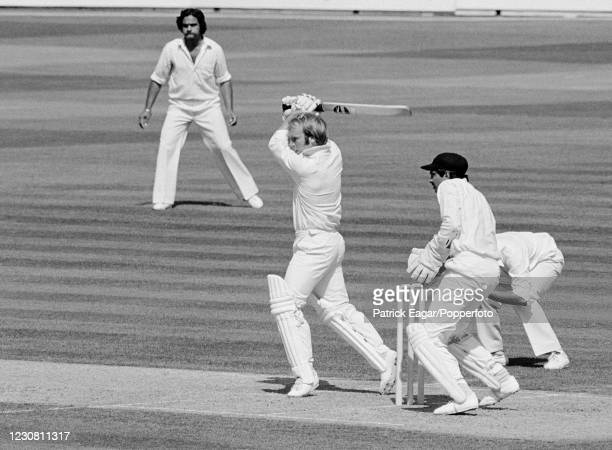 Alan Butcher batting on debut for England during the 4th Test match between England and India at The Oval, London, 30th August 1979. The fielders for...