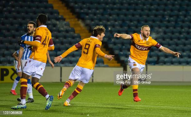 Alan Campbell celebrates his goal to make it 1-0 Motherwell during a Scottish Premiership match between Kilmarnock and Motherwell at Rugby Park on...