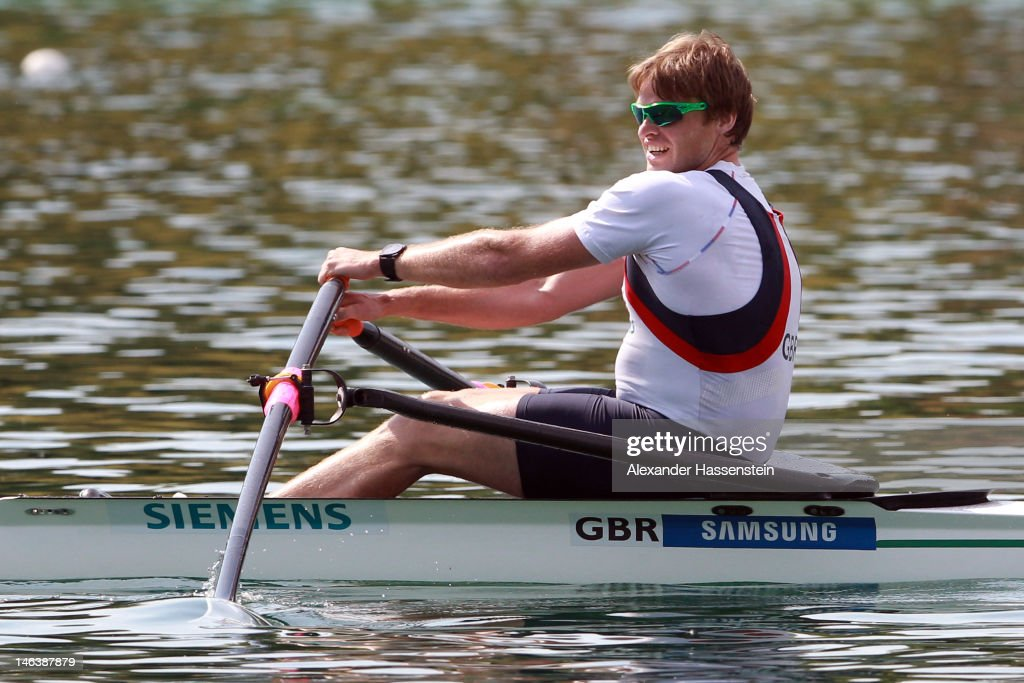 Alan Campbell of Great Britain competes in the Men´s Single Sculls heat during the 2012 Samsung World Rowing Cup III at the Ruderregattastrecke on June 15, 2012 in Munich, Germany.