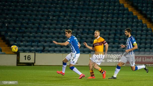 Alan Campbell scores to make it 1-0 Motherwell during a Scottish Premiership match between Kilmarnock and Motherwell at Rugby Park on February 10 in...