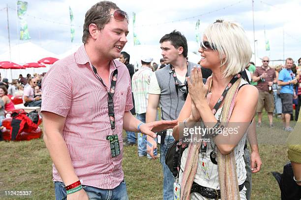 Alan Carr and Sarah Harding during V Festival 2006 Chelmsford Day1 Virgin Mobile Louder Lounge at Chelmsford Great Britain