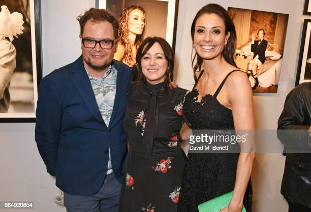 Alan Carr Debbi Clark and Melanie Sykes attend the Sir Hubert Von Herkomer Arts Foundation 2017 annual exhibition and fundraiser at Alon Fine Arts...