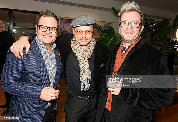 Alan Carr, Gerry DeVeaux and Paul Drayton attend the anniversary party for Kelly Hoppen MBE celebrating 40 years as an Interior Designer, at Alva...