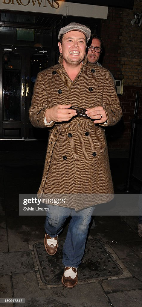 Alan Carr leaving Noel Coward Theatre on September 17, 2013 in London, England.