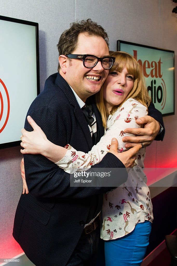 Alan Carr with Sarah Powell as he visits Heat Radio on November 17, 2015 in London, England.