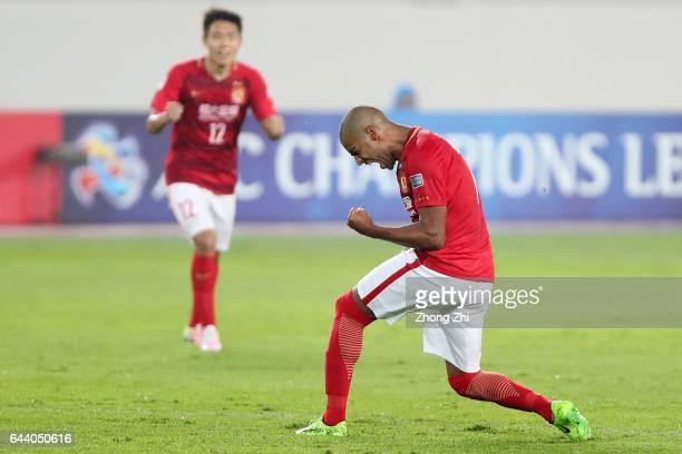 Alan Carvalho of Guangzhou Evergrande celebrates a goal during 2017 AFC Asian Champions League group match between Guangzhou Evergrande Taobao FC and...