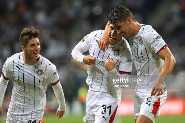 Alan Cervantes of Chivas celebrate after scoring the fourth goal of his team during the 9th round match between Monterrey and Chivas as part of the...