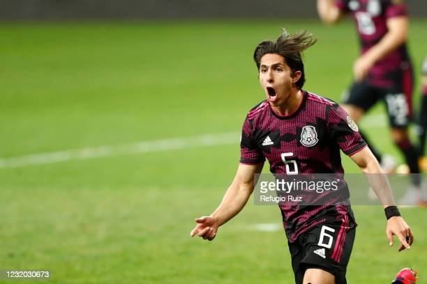 Alan Cervantes of México reacts during the final match between Honduras and Mexico as part of the 2020 Concacaf Men's Olympic Qualifying at Akron...