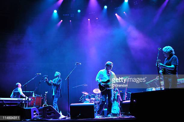 Alan Clark Chris White Terence Reis and Phil Palmer of The Straits performs on stage at Royal Albert Hall on May 22 2011 in London United Kingdom