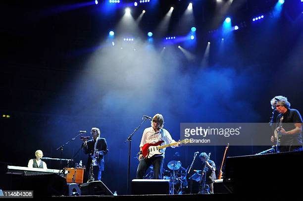 Alan Clark Chris White Terence Reis Mick Feat and Phil Palmer of The Straits performs on stage at Royal Albert Hall on May 22 2011 in London United...