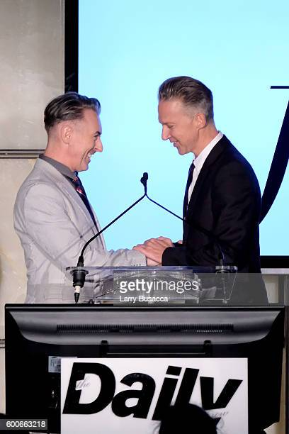 Alan Cummin and Jefferson Hack onstage at The Daily Front Row's 4th Annual Fashion Media Awards at Park Hyatt New York on September 8 2016 in New...