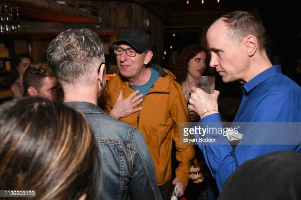 Alan Cumming David Cale and Grant Shaffer attend a special performance of Legal Immigrant at Audible's Minetta Lane Theatre on April 12 2019 in New...