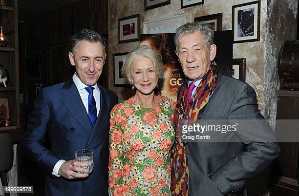 Alan Cumming Helen Mirren and Sir Ian McKellen attend the Women In Gold cocktail reception at Elyx House New York on December 2 2015 in New York City