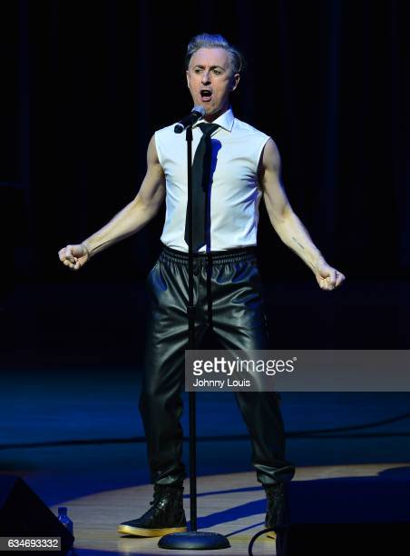 Alan Cumming performs on stage during his show 'Alan Cumming Sings Sappy Songs' at The Adrienne Arsht Center for the Performing Arts Knight Concert...
