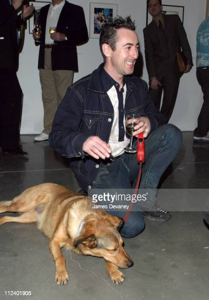 Alan Cumming with his dog Honey during Canine Cocktail Party 2003 to benefit Art for Animals at Gagosian Gallery in New York City New York United...