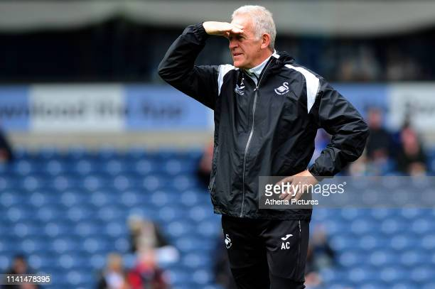 Alan Curtis, assistant coach for Swansea City during the Sky Bet Championship match between Blackburn Rovers and Swansea City at Ewood Park on May 5,...