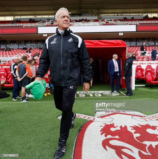 Alan Curtis, assistant coach for Swansea exits the tunnel prior to the Sky Bet Championship match between Middlesbrough and Swansea City at the...
