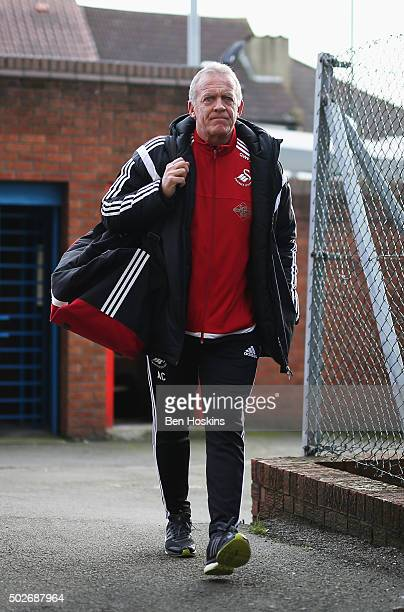 Alan Curtis caretaker Manager of Swansea City is seen on arrival at the stadium prior to the Barclays Premier League match between Crystal Palace and...